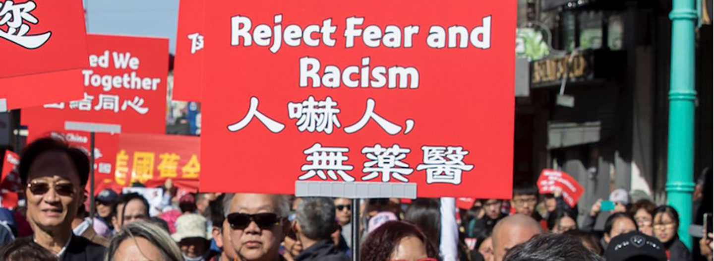 A SURGE IN RACISM TOWARDS THE CHINESE COMMUNITY IN SAN FRANCISCO AT THE BEGINNING OF THE COVID-19 OUTBREAK PROMPTED THIS PROTEST IN FEBRUARY (PHOTO: GETTY IMAGES)