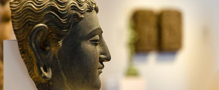 side view of a head statue