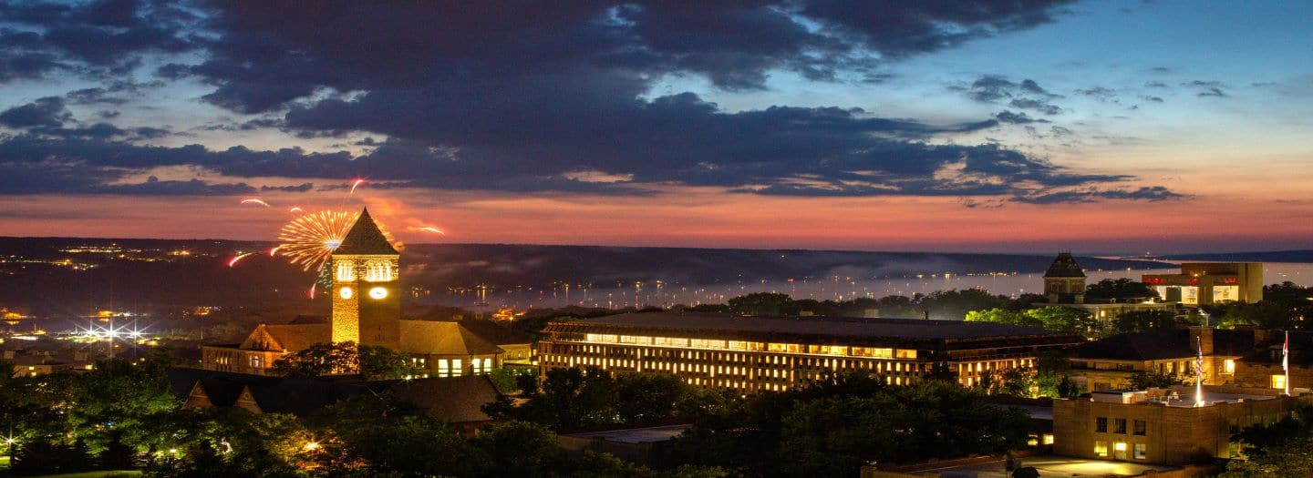The Cornell campus at night